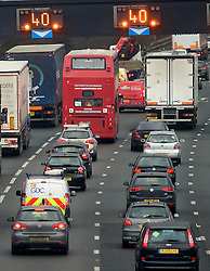 © Licensed to London News Pictures. 23/12/2016. London, UK.  Heavy traffic on the M4 near the junction with the M25 as the Christmas getaway begins, with stations, airports and roads expected to be very busy as people start their Christmas holidays. Photo credit: Ben Cawthra/LNP