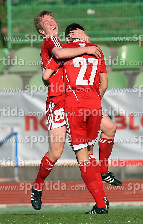 Robert Beric and Josip Ilicic celebrate at 27th Round of Slovenian First League football match between NK Interblock and NK Maribor in ZAK stadium, on April 8, 2009, in Ljubljana, Slovenia. (Photo by Vid Ponikvar / Sportida)