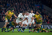 Twickenham, United Kingdom, Saturday, 24th  November 2018, RFU, Rugby, Stadium, England, Kyle SINCKLER, attacking through the midfierld, during the Quilter Autumn International, England vs Australia, © Peter Spurrier