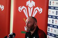 Wales assistant coach Robin McBryde speaks to the press at the Wales Rugby team media session at the Vale Resort, Hensol near Cardiff, South Wales on Tuesday 2nd February2016. The team are preparing for the start of this years RBS Six nations championship.<br />