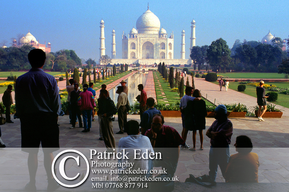 Tourists, The Taj Mahal, Sunrise,Gardens, Agra, India, photograph photography
