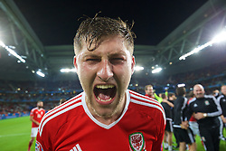 LILLE, FRANCE - Friday, July 1, 2016: Wales' Ben Davies celebrates after a 3-1 victory over Belgium and reaching the Semi-Final during the UEFA Euro 2016 Championship Quarter-Final match at the Stade Pierre Mauroy. (Pic by David Rawcliffe/Propaganda)