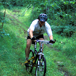 Mountain Biking on Providence Pond Loop Trail.  White Mountain N.F.  Summer.  Chatham, NH