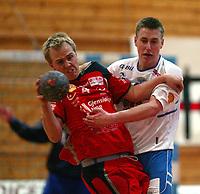 Håndball, Gildeserien herrer, Follo - Kristiansand 27-24.  Lars Ivar Vedvik , Kristiansand, og Audun Johansen (4), Follo