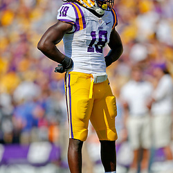 Oct 12, 2013; Baton Rouge, LA, USA; LSU Tigers linebacker Lamin Barrow (18) against the Florida Gators during the first quarter of a game at Tiger Stadium. Mandatory Credit: Derick E. Hingle-USA TODAY Sports