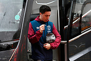 Samir Nasri (18) of West Ham United gets off the team bus on arrival at the Vitality Stadium before the Premier League match between Bournemouth and West Ham United at the Vitality Stadium, Bournemouth, England on 19 January 2019.