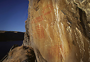 "Complex pictograph, estimated to be 2000 - 3000 years old in the Columbia River Gorge National Scenic Area. Native people who live in the area refer to the creators of the rock art in the Columbia River area as the ""River People"". Much of the original rock art in the area has been flooded by hydro projects or vandalized, but there remain some prinstine examples in out of the way areas."
