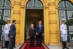 February 27, 2019 - Hanoi, Vietnam - Vietnamese President NGUYEN PHU TRONG welcomes U.S President DONALD TRUMP on arrival at the Presidential Palace February 27, 2019 in Hanoi, Vietnam. (Credit Image: © Shealah Craighead/The White House via ZUMA Wire)