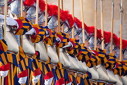 "Pope Francis delivers his traditional Christmas Message and ""Urbi et Orbi"" Blessing from the balcony of St Peter's basilica at Saint Peter's Square in Vatican City on December 25, 2017. 25 Dec 2017 Pictured: Pontifical Swiss Guards parade before the arrival of Pope Francis for traditional Christmas Message and ""Urbi et Orbi"" Blessing at Saint Peter's Square in Vatican City on December 25, 2017. Photo credit: Stefano Costantino / MEGA TheMegaAgency.com +1 888 505 6342"