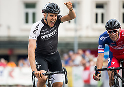 Winner De Marchi Mattia of A.S.D Cycling team Friuli and second placed Rogina Radoslav of Adria Mobil at finish line during cycling race 48th Grand Prix of Kranj 2016 / Memorial of Filip Majcen, on July 31, 2016 in Kranj centre, Slovenia. Photo by Vid Ponikvar / Sportida
