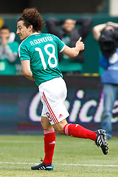 March 26, 2011; Oakland, CA, USA;  Mexico midfielder Andres Guardado (18) celebrates after scoring a goal against Paraguay during the first half at Oakland-Alameda County Coliseum.