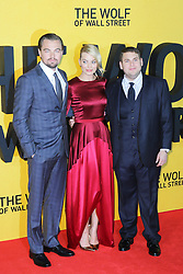 © Licensed to London News Pictures. 09/01/2014, UK. Leonardo DiCaprio; Margot Robbie; Jonah Hill, The Wolf of Wall Street - UK film premiere, Odeon Leicester Square, London UK, 09 January 2014. Photo credit : Richard Goldschmidt/Piqtured/LNP
