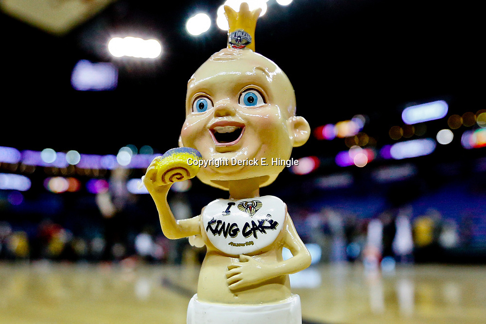 Jan 29, 2017; New Orleans, LA, USA; It was King Cake Baby bobblehead head night for a game between the New Orleans Pelicans and the Washington Wizards at the Smoothie King Center. The King Cake Baby is a Mardi Gras themed mascot featured by the Pelicans during the carnival season. The Wizards defeated the Pelicans 107-94. Mandatory Credit: Derick E. Hingle-USA TODAY Sports