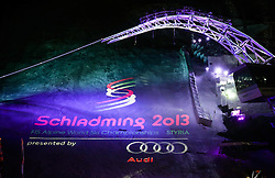 04.02.2013, Planai Zielstadion, Schladming, AUT, FIS Weltmeisterschaften Ski Alpin, Eroeffnungsfeier, im Bild Skygate mit dem Logo der Ski WM in Schladming // Skygate with the logo of the World Ski Championships in Schladming at the Opening ceremony of the FIS Ski World Championships 2013 at the Planai Stadium, Schladming, Austria on 2013/02/04. EXPA Pictures © 2013, PhotoCredit: EXPA/ Johann Groder