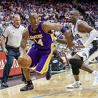 BASKET BALL - PLAYOFFS NBA 2008/2009 - LOS ANGELES LAKERS V ORLANDO MAGIC - GAME 3 -  ORLANDO (USA) - 09/06/2009 - PHOTO : CHRIS ELISE<br /> KOBE BRYANT (LAKERS), MICKAEL PIETRUS (MAGIC)