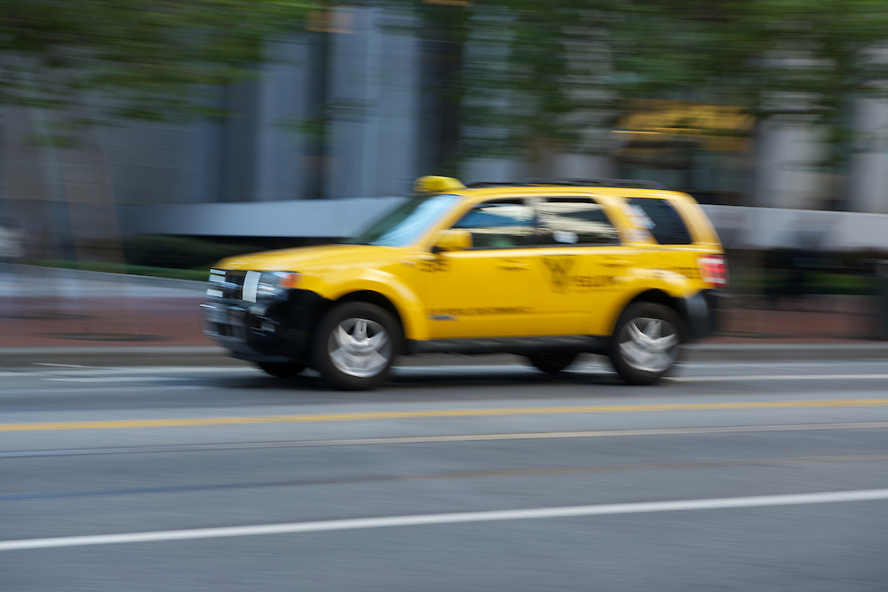A Taxi Cab heads East on Market St during the morning commute | June 27, 2012