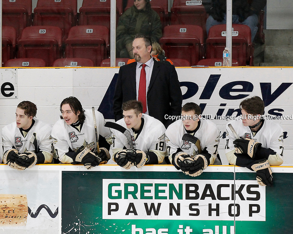 TRENTON, ON - Dec 1, 2015 : Ontario Junior Hockey League game action between Lindsay and Trenton, Trenton Golden Hawks Kyle Smart Assistant Coach during starting lineup announcements<br /> (Photo by Amy Deroche / OJHL Images)
