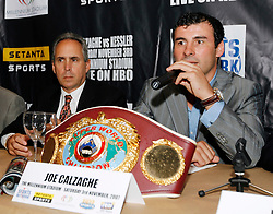 September 4, 2007; New York, NY, USA;  WBO Super Middleweight Champion Joe Calzaghe at the press conference announcing his November 3, 2007 fight against WBA/WBC Super Middleweight Champion Mikkel Kessler.  The fight will take place at the Millennium Stadium, Cardiff, Wales, United Kingdom.
