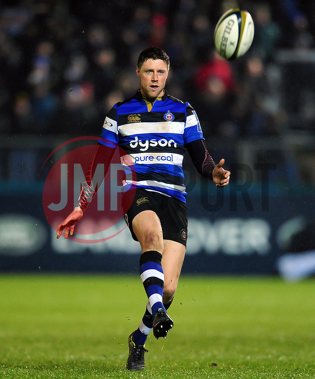 Rhys Priestland of Bath Rugby kicks for territory - Mandatory byline: Patrick Khachfe/JMP - 07966 386802 - 27/01/2017 - RUGBY UNION - The Recreation Ground - Bath, England - Bath Rugby v Gloucester Rugby - Anglo-Welsh Cup.