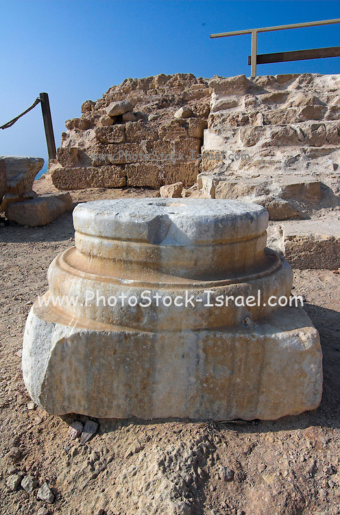 Ancient byzantine pillar heads, Apollonia, Israel