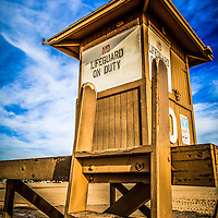 HDR photo of Newport Beach lifeguard tower 10. Lifeguard stand #10 is located on 10th Street on  Balboa Peninsula in Newport Beach in Orange County Southern California.