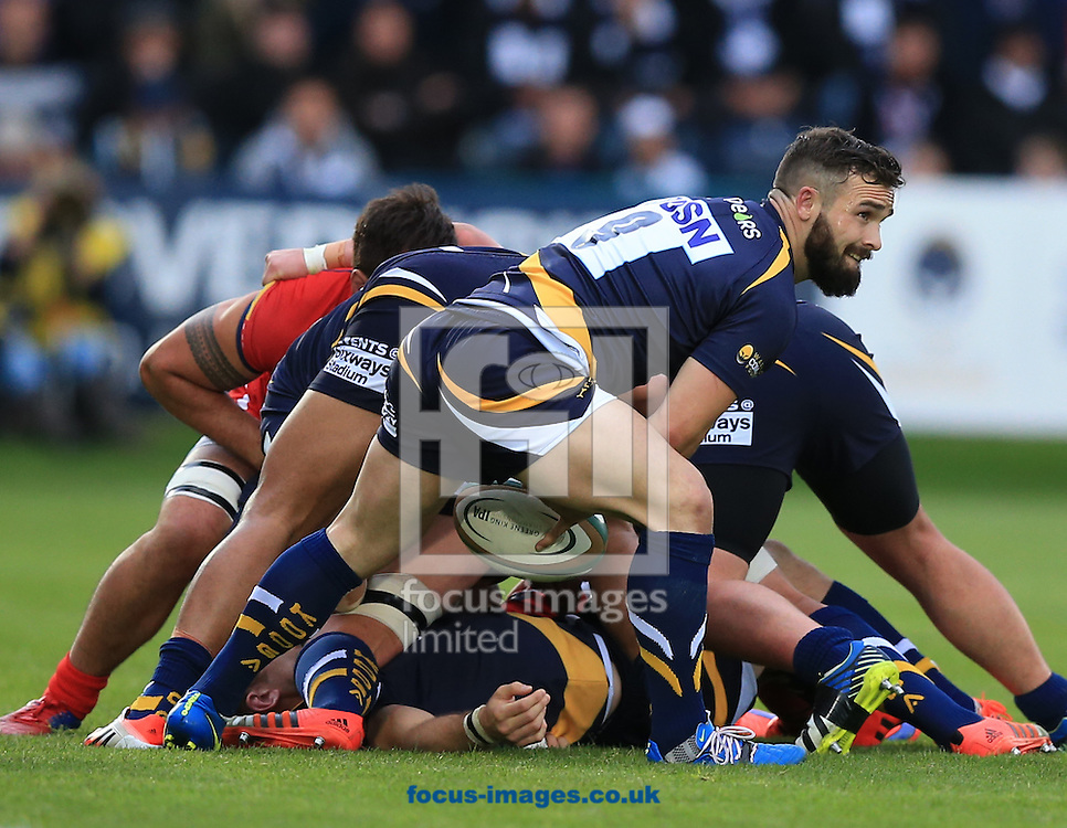 JB Bruzulier of Worcester Warriors during the second leg of the Greene King IPA Championship Final at Sixways Stadium, Worcester<br /> Picture by Michael Whitefoot/Focus Images Ltd 07969 898192<br /> 27/05/2015