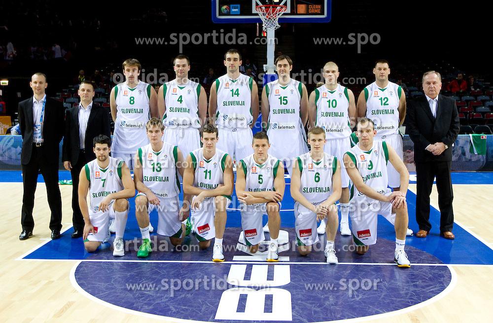 Group photo of Slovenia team; 1st line (from L): Saso Ozbolt, Zoran Dragic, Goran Dragic, Jaka Lakovic, Luka Rupnik, Samo Udrih; 2nd line: Gasper Potocnik, Aleksander Sekulic, Matjaz Smodis, Uros Slokar, Mirza Begic, Erazem Lorbek, Edo Muric, Goran Jagodnik and head coach Bozidar Maljkovic during basketball match between National teams of Slovenia and Bulgaria in Group D of Preliminary Round of Eurobasket Lithuania 2011, on August 31, 2011, in Arena Svyturio, Klaipeda, Lithuania.   Slovenia defeated Bulgaria 67 - 59. (Photo by Vid Ponikvar / Sportida)