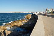 HAVANA, CUBA - OCTOBER 21, 2006: View to the seaside Malecon avenue in Havana, Cuba.