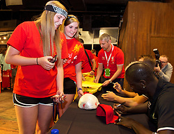 CHARLOTTE, USA - Friday, August 1, 2014: Liverpool's Mamadou Sakho signs autographs for supporters at the Whisky River bar on day twelve of the club's USA Tour. (Pic by David Rawcliffe/Propaganda)