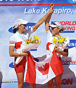 Hamilton, NEW ZEALAND. CAN LW2X win and celebrate winning the gold medal in the women's lightweight double scull, at the 2010 World Rowing Championships - Lake Karapiro. Friday 05.11.2010.  [Mandatory Credit Peter Spurrier:Intersport Images].