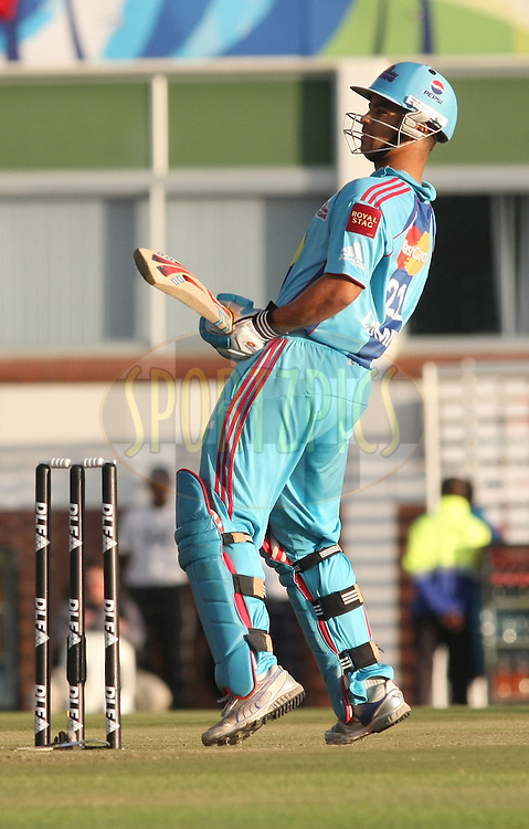 EAST LONDON, SOUTH AFRICA - 8 May 2009. Jean-Paul (JP) Duminy looks back after swaying out of the way of a bouncer from Dirk Nannes  during the  IPL Season 2 match between the Delhi Daredevils and the Mumbai Indians held at Buffalo Park in East London. South Africa..