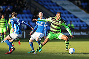 Forest Green Rovers Ethan Pinnock(16) on the ball during the FA Trophy match between Macclesfield Town and Forest Green Rovers at Moss Rose, Macclesfield, United Kingdom on 4 February 2017. Photo by Shane Healey.