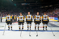 REGINA, SK - MAY 25: Hamilton Bulldogs starting line up at the Brandt Centre on May 25, 2018 in Regina, Canada. (Photo by Marissa Baecker/CHL Images)