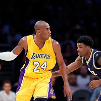 19 October 2014: Los Angeles Lakers guard Kobe Bryant (24) posts up Utah Jazz guard Carrick Felix (8) during the Los Angeles Lakers 98-91 victory over the Utah Jazz, in a preseason game, at the Staples Center, Los Angeles, California, USA.