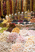Traditional sweetmeats Turkish Delight, Lokum, in Misir Carsisi Egyptian Bazaar food and spice market, Istanbul, Turkey