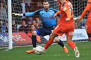 Andy Lonergan makes a save during the EFL Sky Bet League 1 match between Luton Town and Rochdale at Kenilworth Road, Luton, England on 2 March 2019.