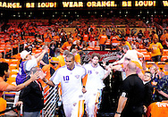 May 23, 2010; Phoenix, AZ, USA; Phoenix Suns guard Leandro Barbosa (10) and teammate center Robin Lopez (15) receive high fives as they enter the arena prior to the first quarter in game three of the western conference finals in the 2010 NBA Playoffs at US Airways Center.  Mandatory Credit: Jennifer Stewart-US PRESSWIRE