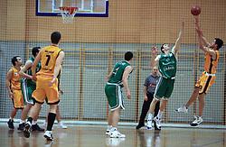 Uros Lucic of Zlatorog vs Ivan Drzic of Koper at 12th Round of UPC League basketball match between KK Luka Koper and KK Zlatorog Lasko, on May 2, 2009, in Arena Bonifika, Koper, Slovenia. Zlatorog won the match 72:71. (Photo by Vid Ponikvar / Sportida)