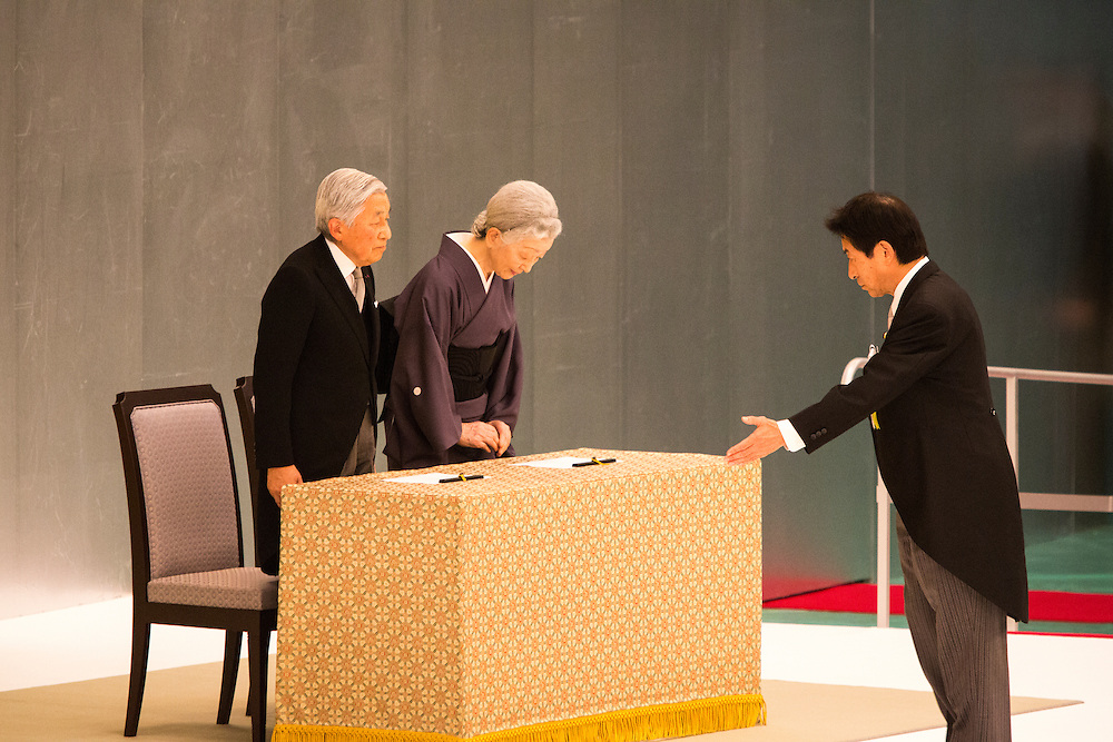 TOKYO, JAPAN - AUGUST 15 : Emperor Akihito and Empress Michiko prepares to pay respects during the memorial service at the Nippon Budokan on the 71st anniversary of the Japan's war surrender on August 15, 2016 in Tokyo, Japan. (Photo by Richard Atrero de Guzman/NURPhoto)