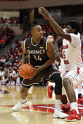27 November 2015: Godson Eneogwe looks for space against Roland Griffin(35). Illinois State Redbirds host the Quincy Hawks at Redbird Arena in Normal Illinois (Photo by Alan Look)
