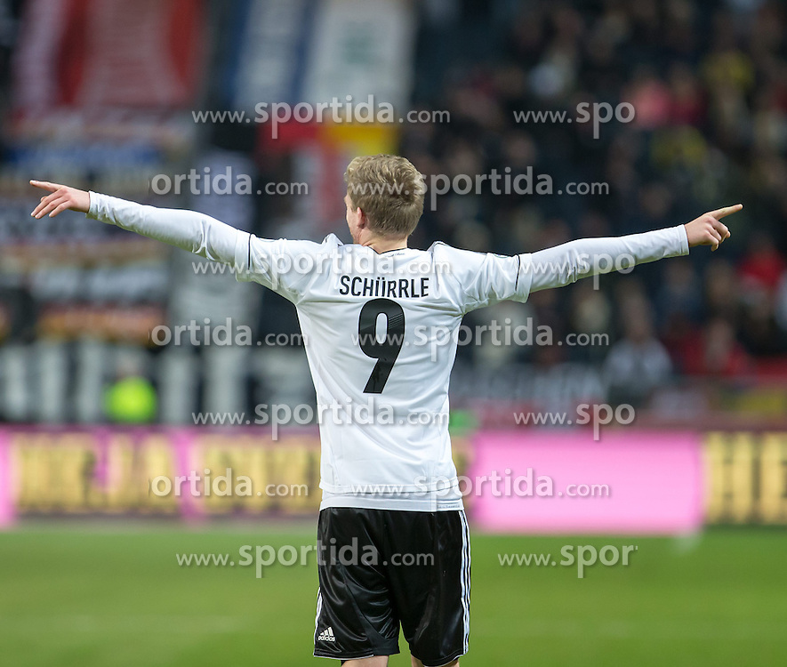 15.10.2013, Friends Arena, Stockholm, SWE, FIFA WM Qualifikation, Schweden vs Deutschland, Gruppe C, im Bild Germany 9 Andre Schürrle Schurrle score 5-3,, , Nyckelord , Keywords : football , fotboll , soccer , FIFA , World Cup , Qualification , Sweden , Sverige , Schweden , Germany , Tyskland , Deutschland jubel jublande glad gl©dje lycka happy happiness celebration celebrates portr©tt portrait // during the FIFA World Cup Qualifier Group C Match between Sweden and Germany at the Friends Arena, Stockholm, Sweden on 2013/10/15. EXPA Pictures © 2013, PhotoCredit: EXPA/ PicAgency Skycam/ Ted Malm<br /> <br /> ***** ATTENTION - OUT OF SWE *****