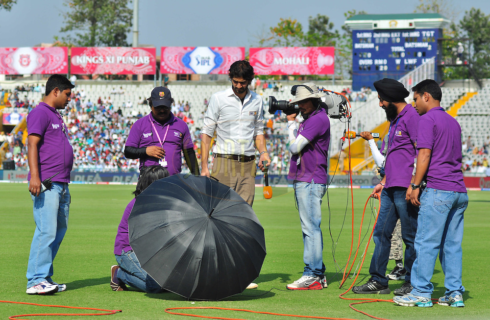 Gourav Kapoor with camera crew on ground during match 33 of the the Indian Premier League ( IPL) 2012  between The Kings X1 Punjab and The Mumbai Indians held at the Punjab Cricket Association Stadium, Mohali on the 25th April 2012..Photo by Arjun Panwar/IPL/SPORTZPICS