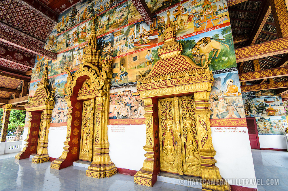The ornate main doors at Wat Phonxay Sanasongkham in Luang Prabang, Laos.