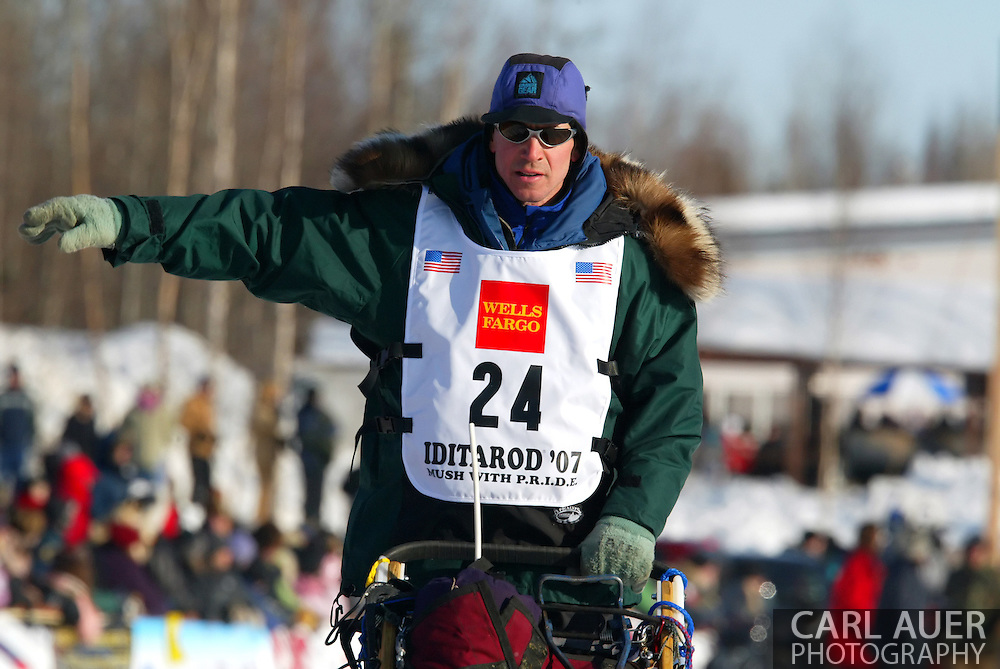3/4/2007:  Willow, Alaska -  Rookie Jon Korta of Galena, AK during the 35th Iditarod Sled Dog Race