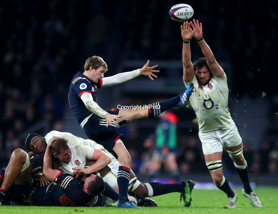 RBS 6 Nations Championship Round 1, Twickenham, London, England 4/2/2017<br /> England vs France<br /> France's Baptiste Serin and Tom Wood of England<br /> Mandatory Credit &copy;INPHO/James Crombie