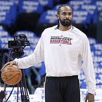 14 June 2012: Miami Heat center Ronny Turiaf (21) warms up prior to Game 2 - Heat at Thunder - of the 2012 NBA Finals, at the Chesapeake Energy Arena, Oklahoma City, Oklahoma, USA.