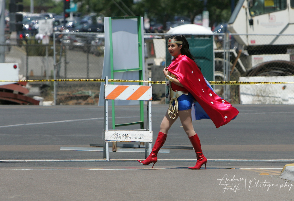 "Andrew Foulk/ Zuma Press.July 23, 2009, San Diego, California, USA. Comic Con. Comic Con  A women walks across the street dressed as ""Wonder Women"" on her way to the San Diego convention center, during day one of the 40th annual San Diego International Comic Con."
