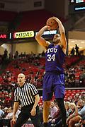 LUBBOCK, TX - MARCH 3: Kenrich Williams #34 of the TCU Horned Frogs shoots the ball during the game against the Texas Tech Red Raiders on March 3, 2018 at United Supermarket Arena in Lubbock, Texas. Texas Tech defeated TCU 79-75. Texas Tech defeated TCU 79-75. (Photo by John Weast/Getty Images) *** Local Caption *** Kenrich Williams