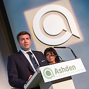 Guy Nevill of Max Fordham speaking at the 2015 Ashden Awards ceremony held at the Royal Geographical Society, London. UK.