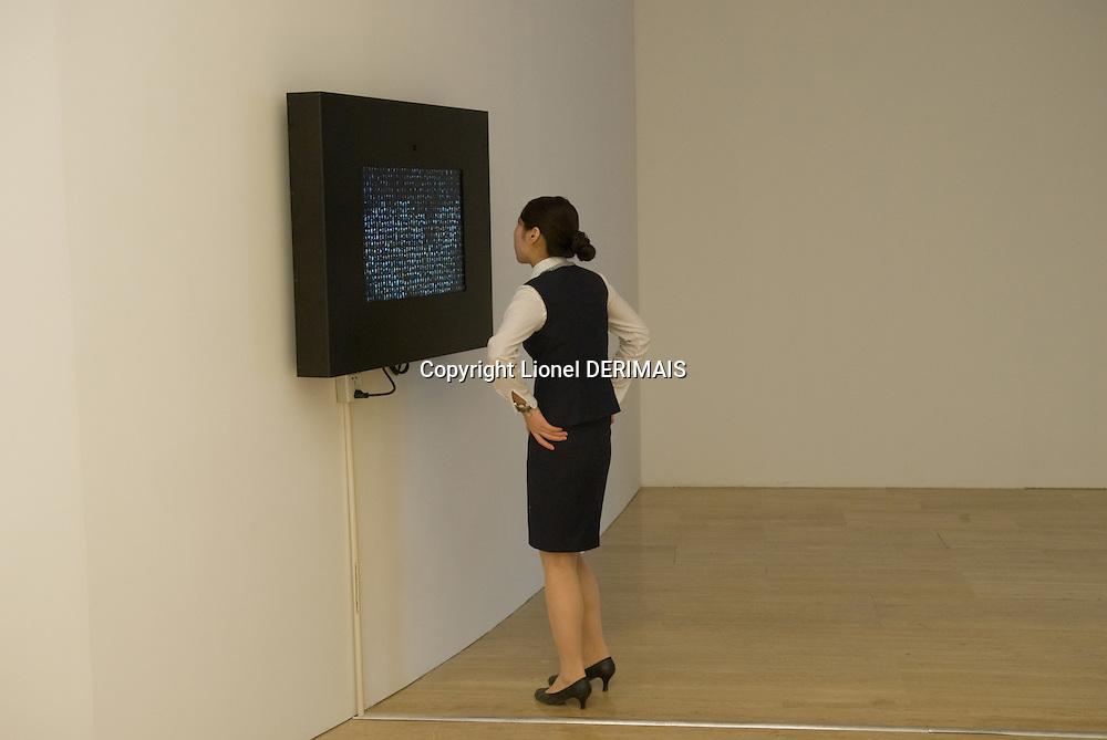 Eye contact, shadowbox 1 by Canadian Mexican artist Rafael Lozano-Hemmer. Synthetic Times exhibition at NAMOC, Beijing, China.